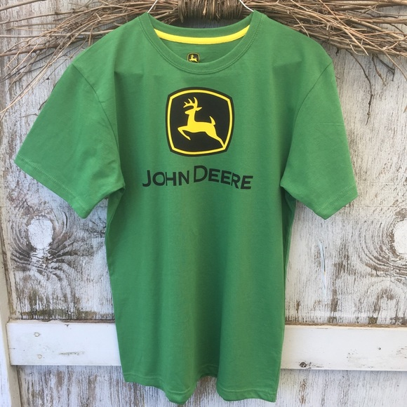John Deere Logo Trademark Green Short Sleeve T-Shirt BIG BOYS SZ M TEE NWT
